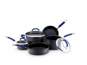 Rachael Ray 8 Piece Hard Anodized Set with blue handles