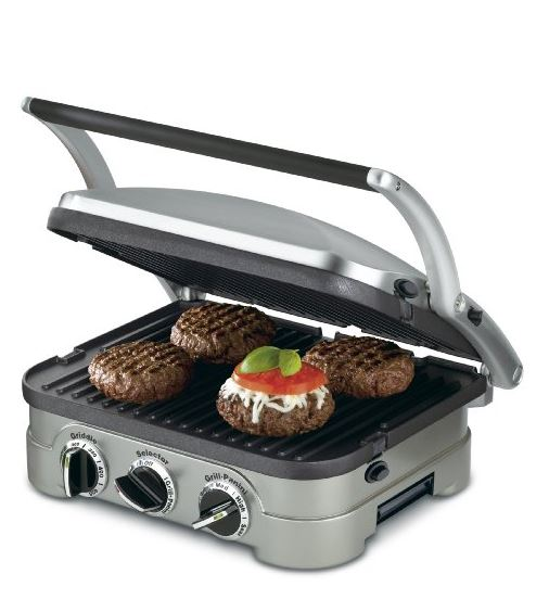 Cuisinart GR4N 5-in-1 Stainless Steel Griddler cooking 4 patties
