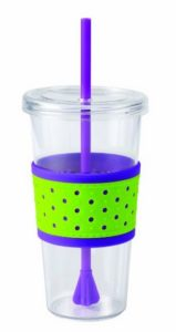 green purple dotted cup