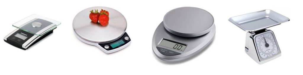 four silver color food scales