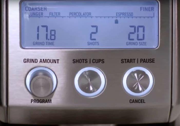 Breville Smart Grinder Pro Control Panel