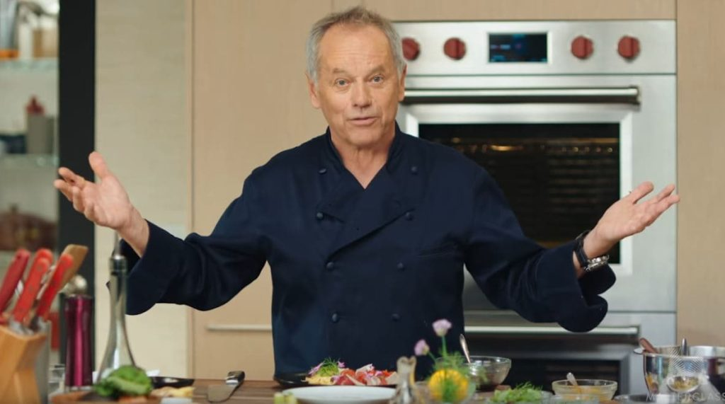 Wolfgang Puck in his kitchen